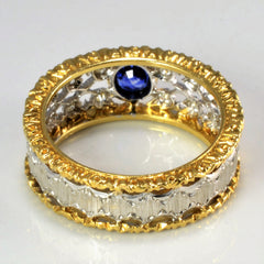Two Tone Gold Textured Sapphire & Diamond Ring | 0.14 ctw, SZ 6 |