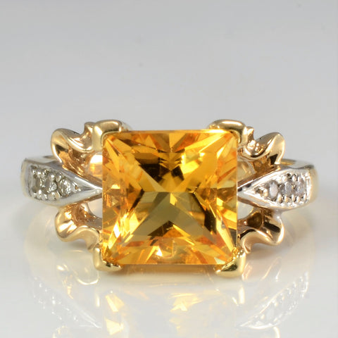 Solitaire Citrine with Accents Diamond Ring | 0.05 ctw, SZ 5.75 |