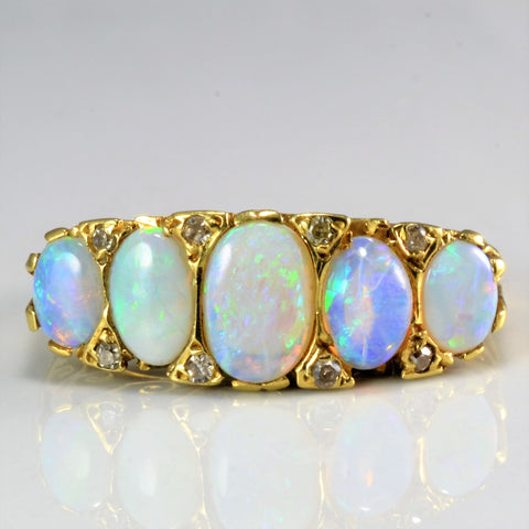 Beautiful Vintage Opal & Diamond Filigree Design Ring | 0.08 ctw, SZ 5.5 |
