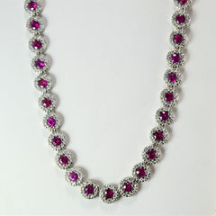 Ruby & Diamond Textured Necklace | 2.21 ctw, 16''|