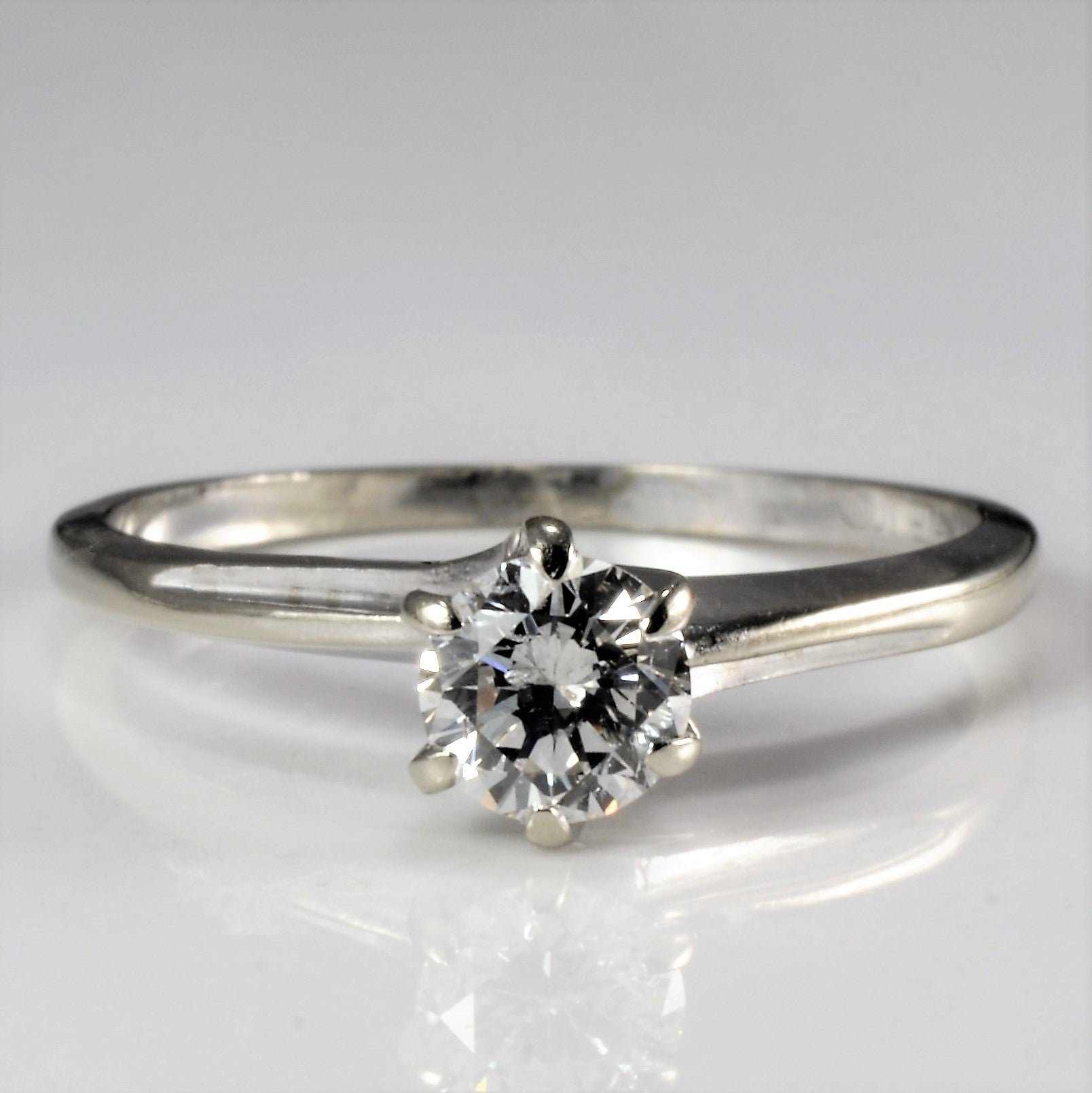 Six Prong Solitaire Diamond Engagement Ring | 0.39 ct, SZ 6.5 |