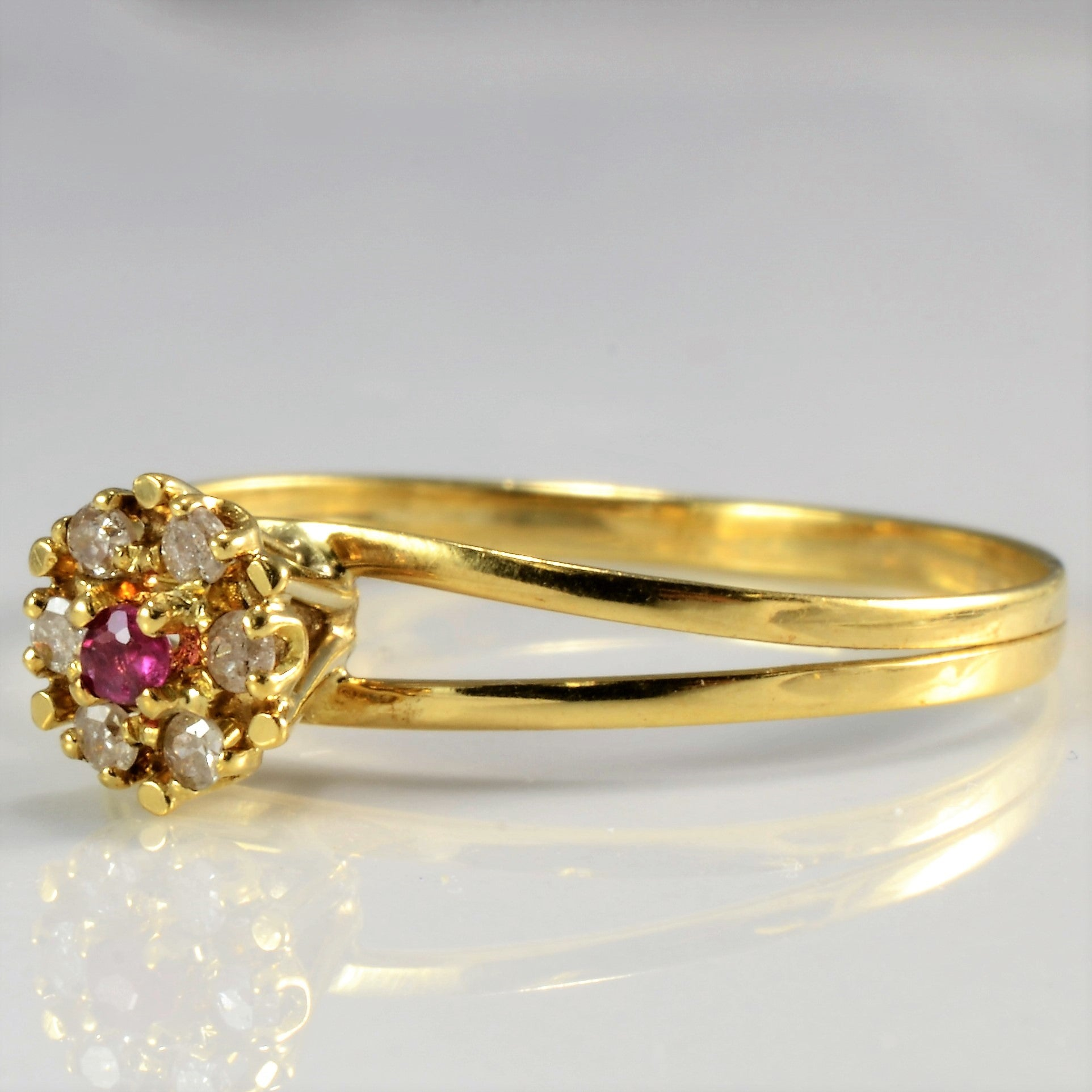 High Set Ruby &  Diamond Ring | 0.06 ctw, SZ 8.75 |