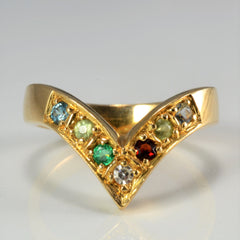 Gypsy Set Multi- Gemstone Chevron Ring | SZ 6 |