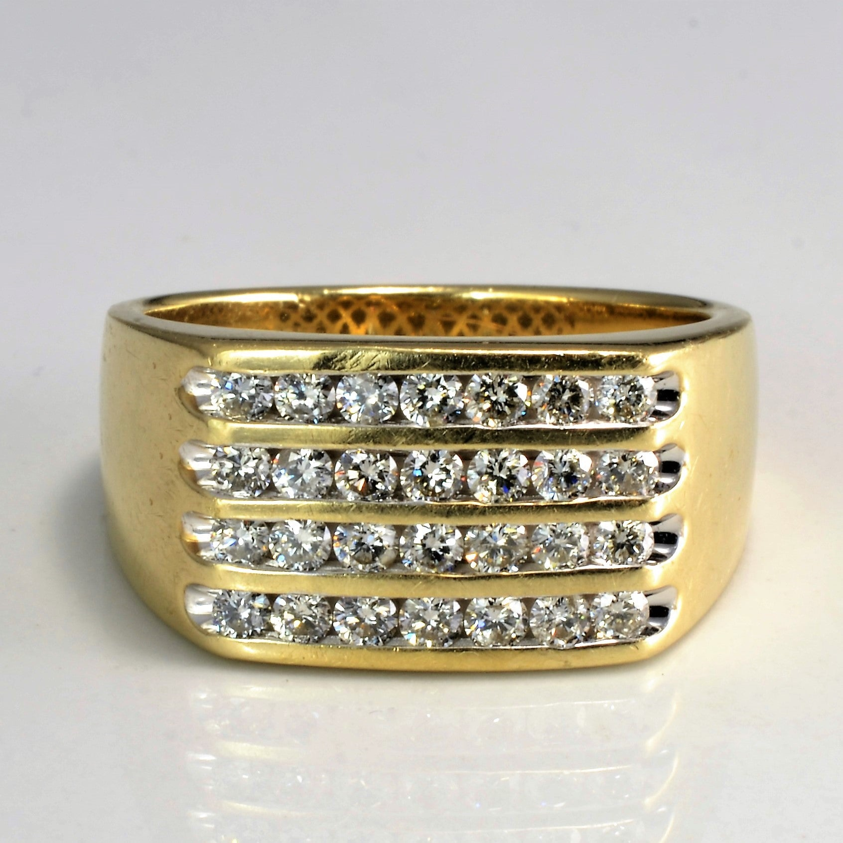 Multi- Row Channel Diamond Ring | 0.85 ctw, SZ 10.25 |
