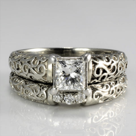 Filigree Art Vintage Diamond Engagement Ring Set | 0.58 ctw, SZ 5.75 |