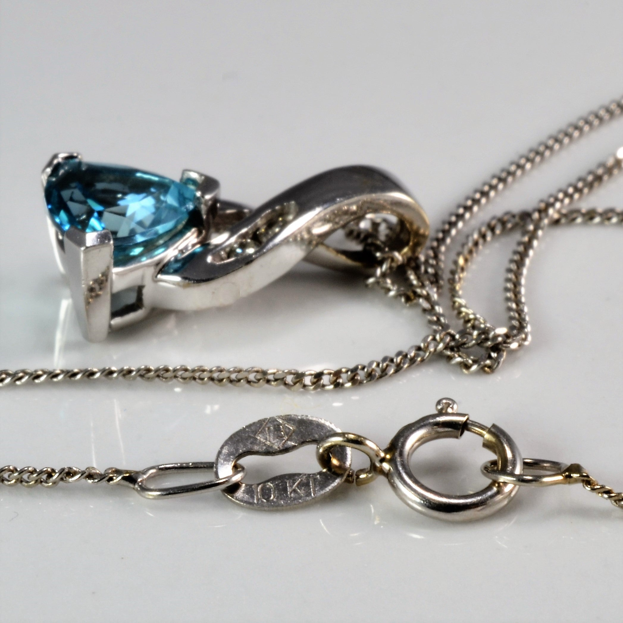 Trillion Cut Topaz Drop Pendant Necklace |16''|