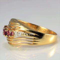 Multi Row Chevron Ruby & Diamond Ring | 0.01 ctw, SZ 5 |