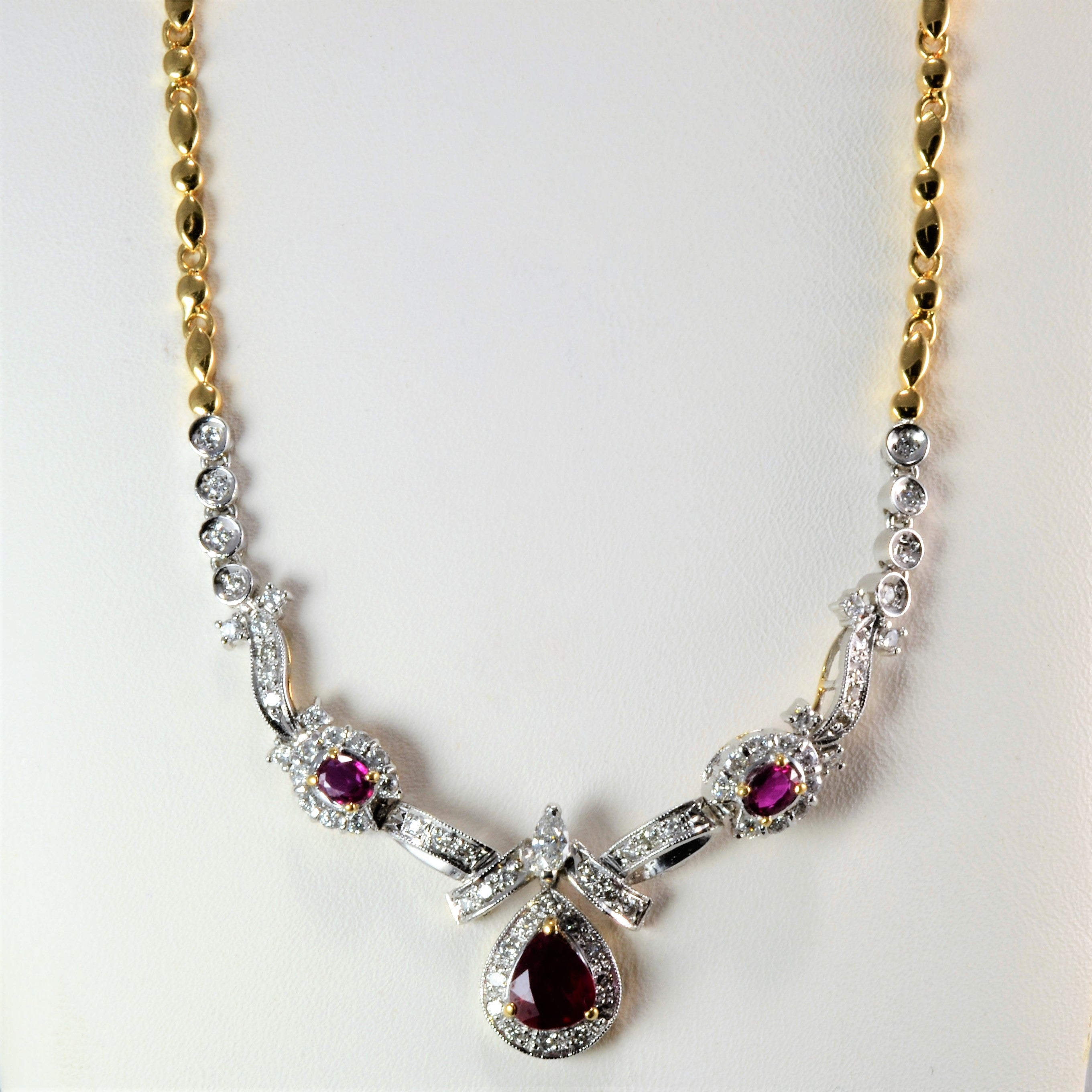 d3ffc168f Two Tone Gold Ruby & Diamond Ladies Necklace | 0.86 ctw, 18''| – 100 ...
