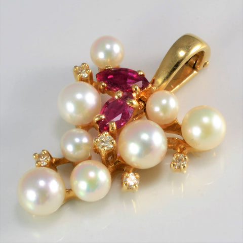 Grapes Design Pearls & Ruby Pendant