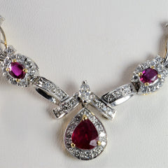 Two Tone Gold Ruby & Diamond Ladies Necklace | 0.86 ctw, 18''|