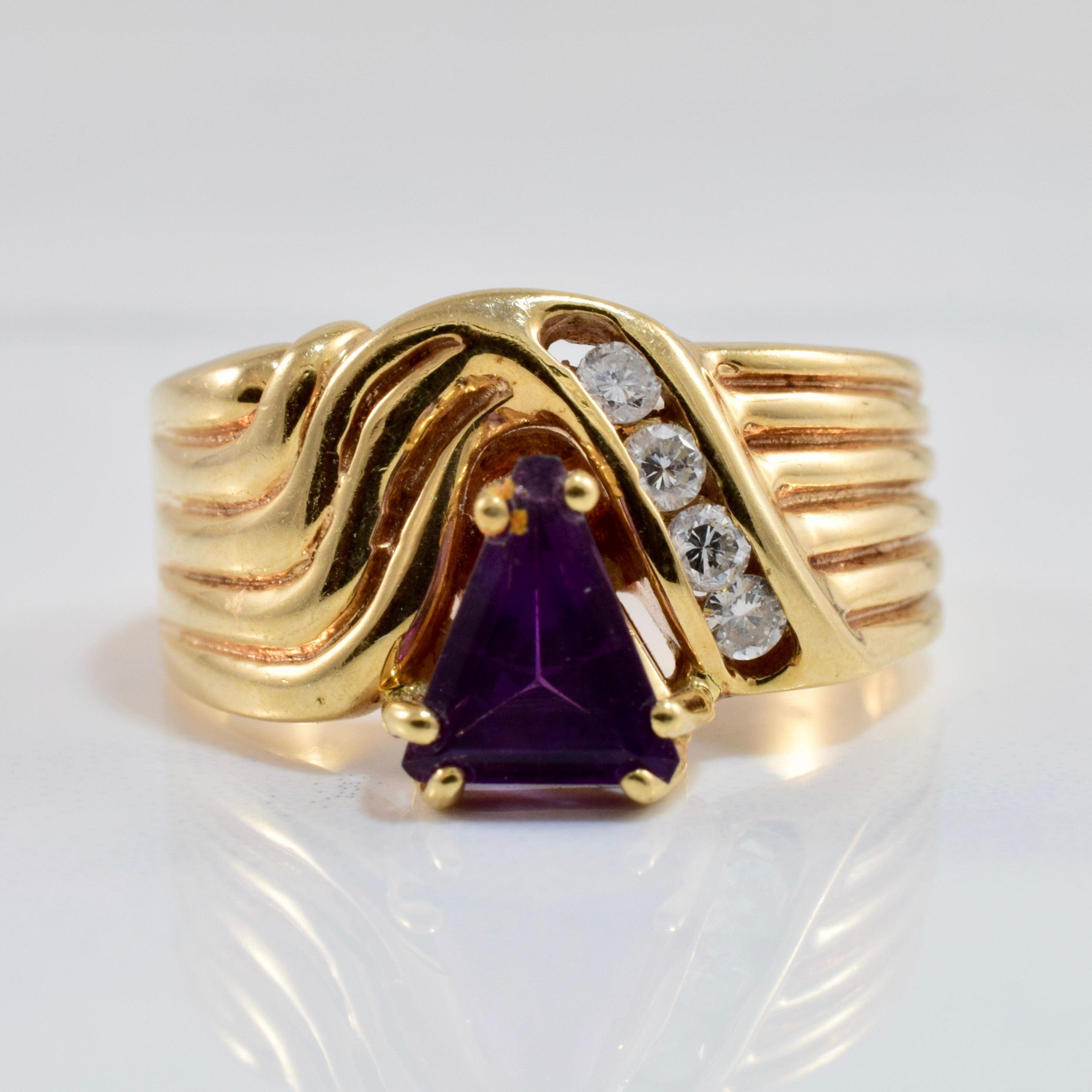 Channel Set Diamond and Amethyst Ring | 0.12 ctw SZ 7 |