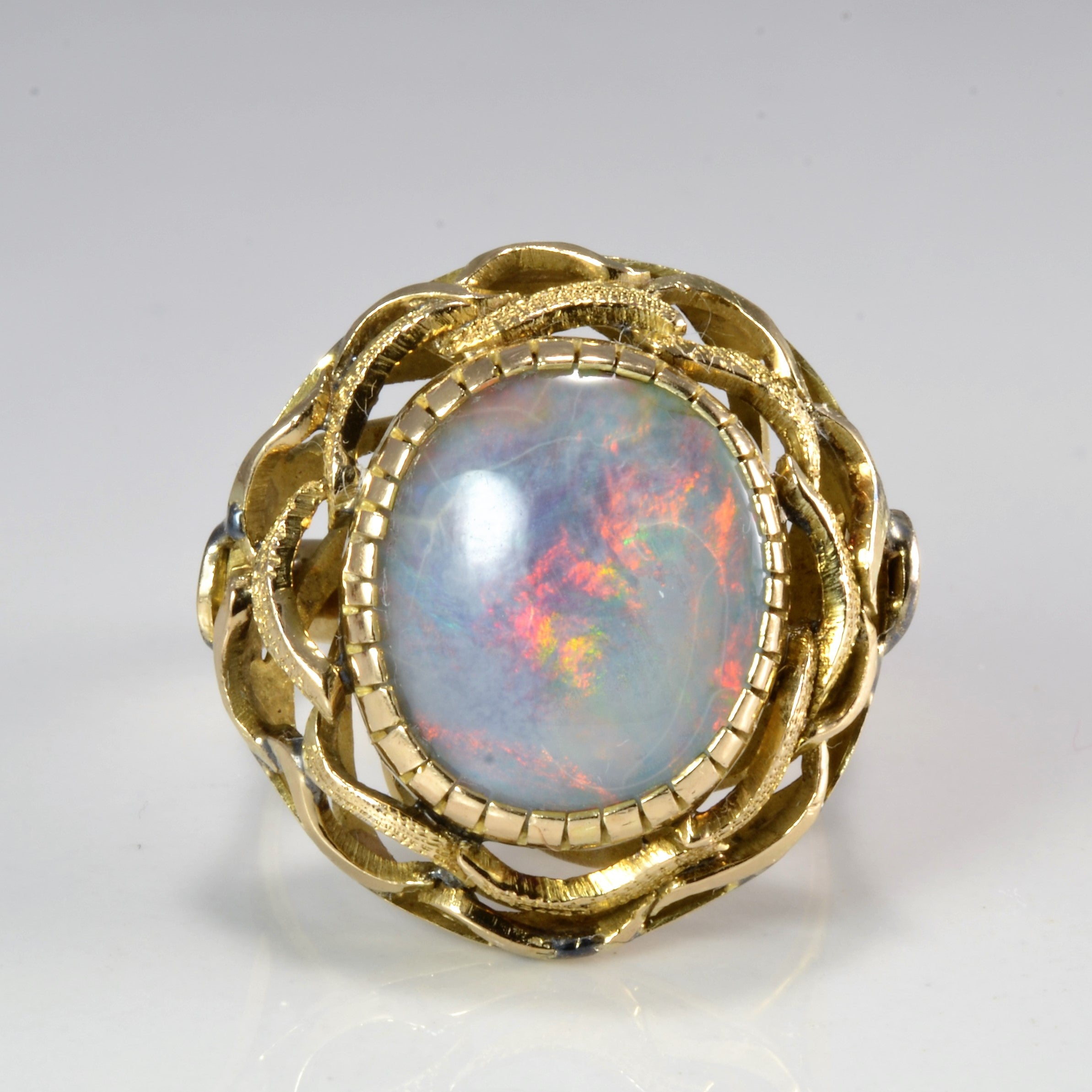 Textured Bezel Set Opal Ring | SZ 8.75 |