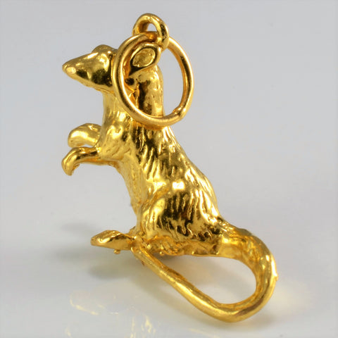 22K Yellow Gold Mouse Charm