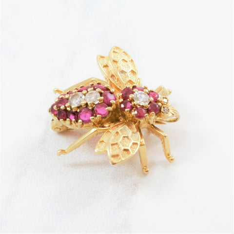 Ruby & Diamond Bumble Bee Brooch | 0.20ctw, 0.65ctw |