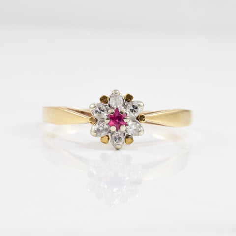 Floral Diamond & Ruby Ring | 0.10 ctw SZ 8 |