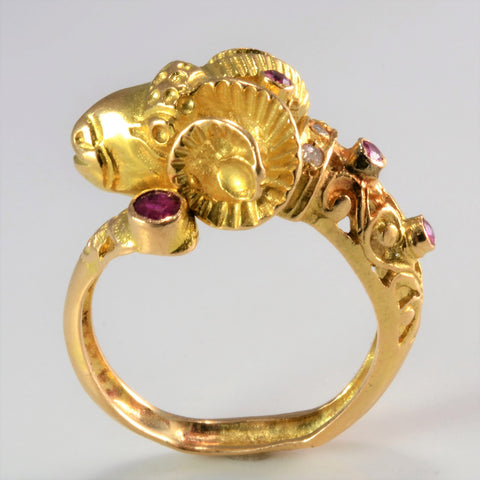 Unique Gold Ram Ruby & Diamond Ring | SZ 8|