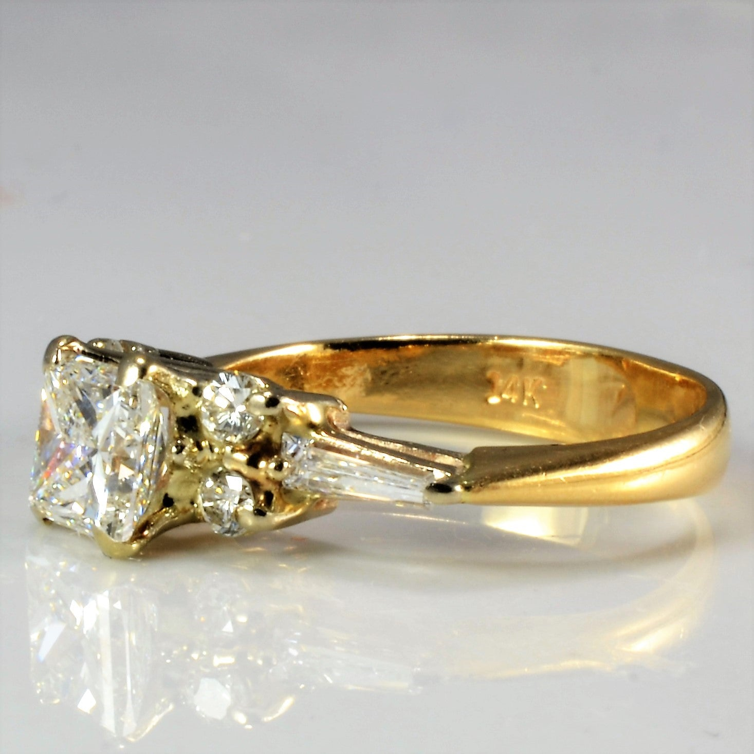 High Set Multi Diamond Engagement Ring | 0.81 ctw, SZ 3.75 |