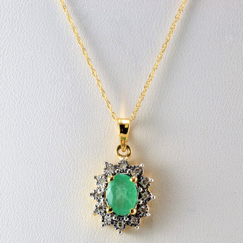 Fancy Cocktail Style Emerald & Diamond Necklace+Earrings Set | 0.16 ctw, 18''|