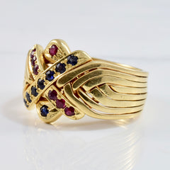Ruby and Sapphire Puzzle Ring | SZ 10.25 |