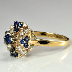 Cluster Diamond & Sapphire Cocktail Ring | 0.16 ctw, SZ 7.5 |