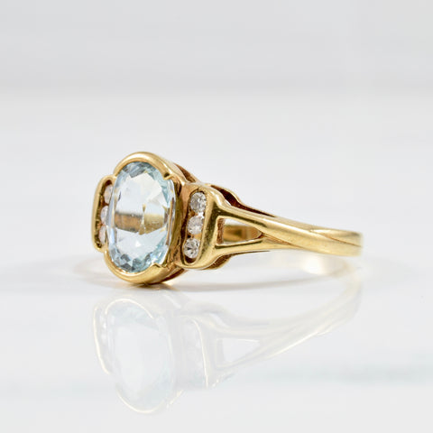 Semi Bezel Set Aquamarine & Diamond Ring | 0.05 ctw SZ 6.5 |