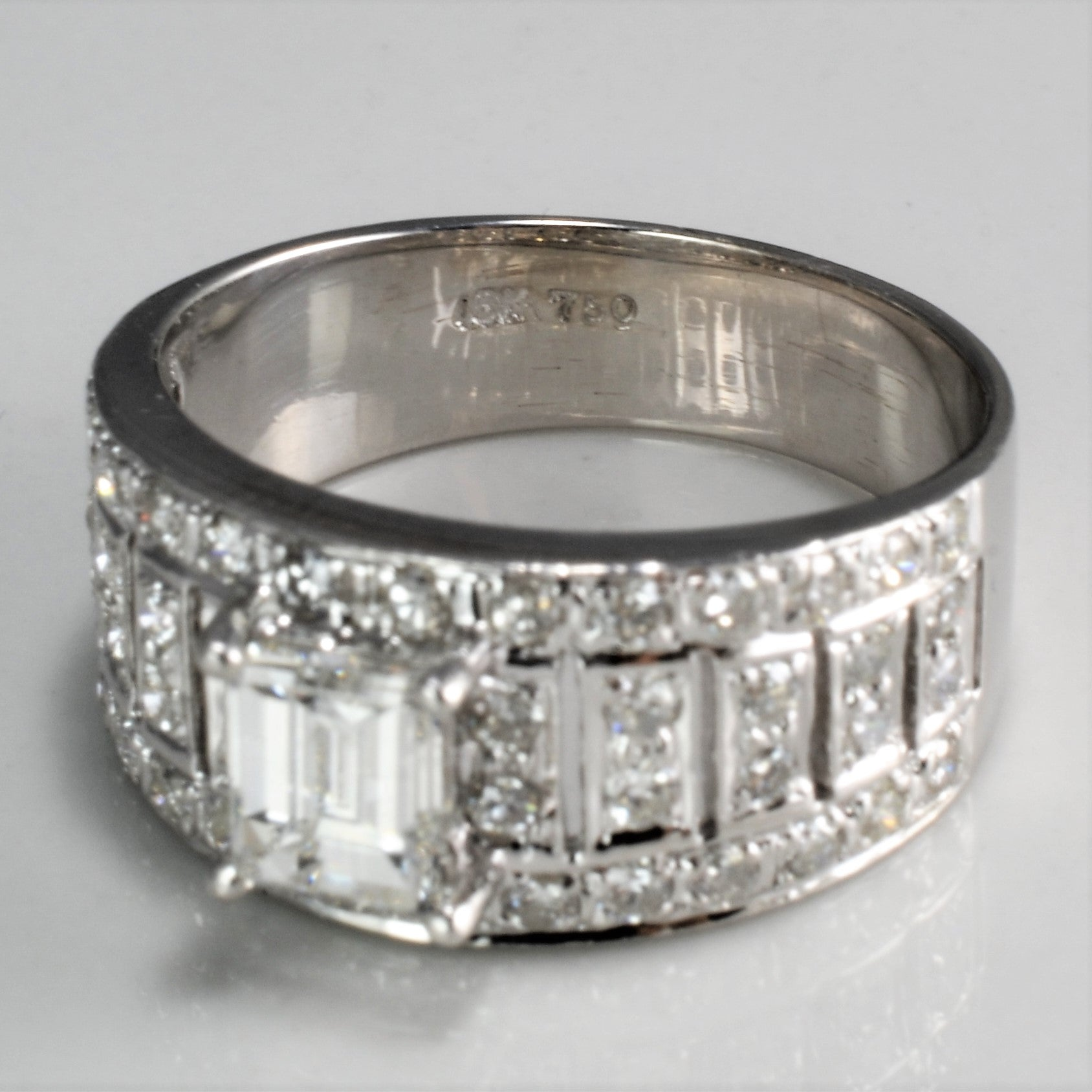 Fancy Multi- Diamond Wide Ring | 1.19 ctw, SZ 5.5 |