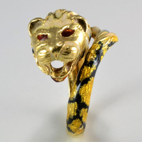 Unique Gold Tiger Design Enameled Ring | SZ 6.5 |