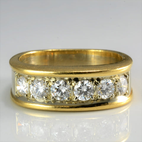 Monte Cristo Six Stone Diamond Wide Band | 0.66 ctw, SZ 6 |