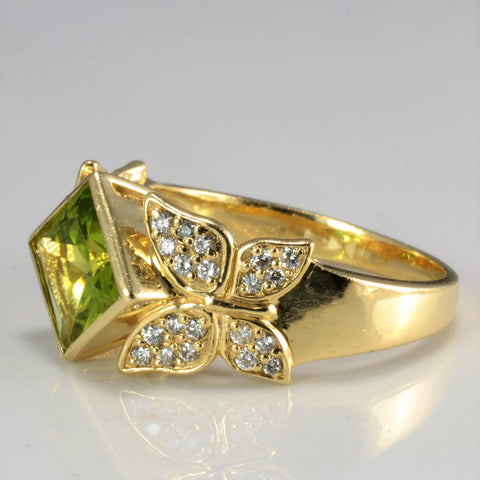 Bezel Set Peridot & Accents Diamond Ladies Ring | 0.30 ctw, SZ 10 |