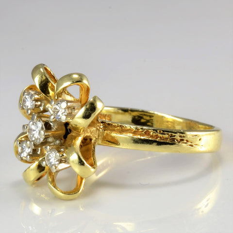 'Birks' Floral Inspired Textured Diamond Ring | 0.25 ctw, SZ 6 |