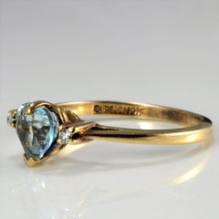Three Stone Topaz & Diamond Ring | 0.02 ctw, SZ 6.5 |