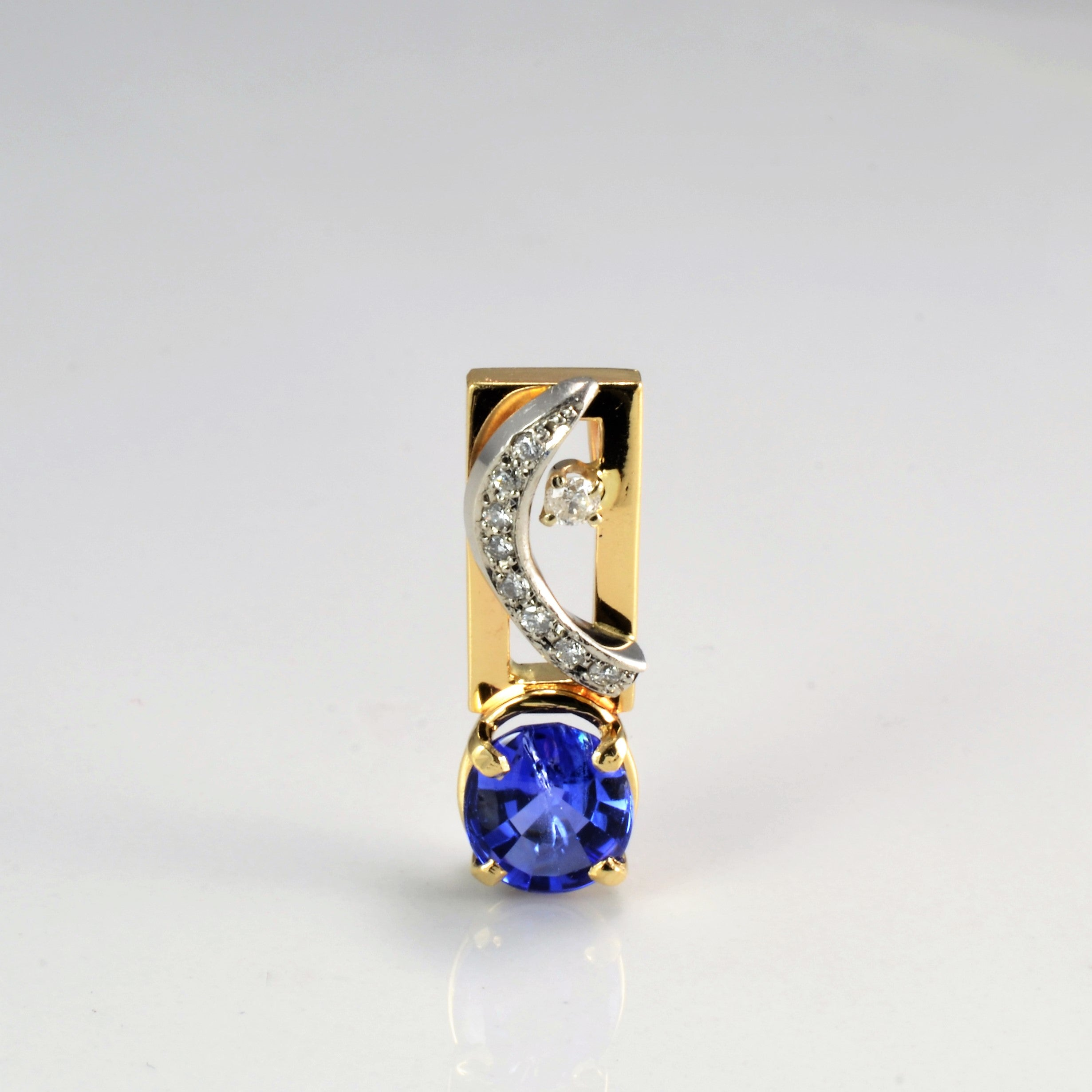 Tanzanite & Diamond Stick Pendant | 0.11 ctw |