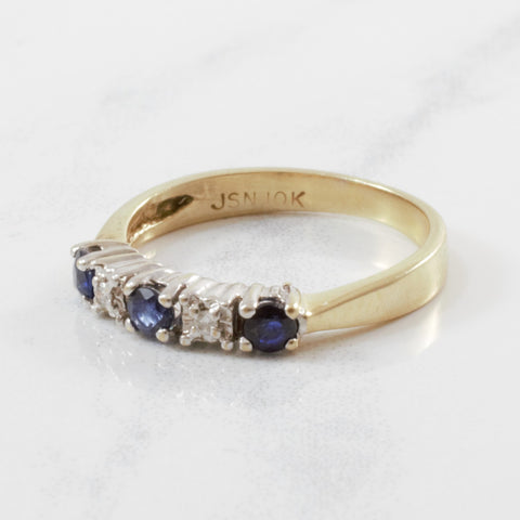 Alternating Diamond & Sapphire Ring | 0.02ctw, 0.25ctw | SZ 4 |