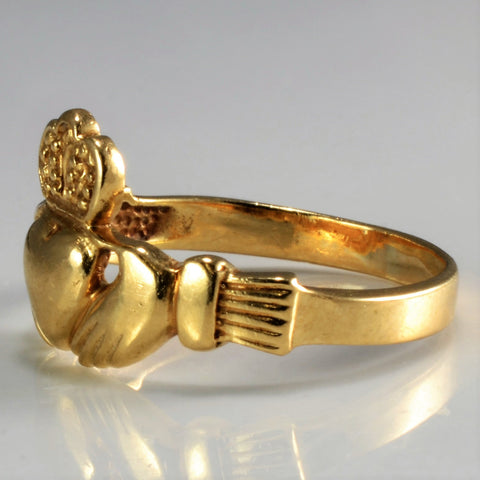 10K Gold Vintage Claddagh Ring | SZ 6.5 |