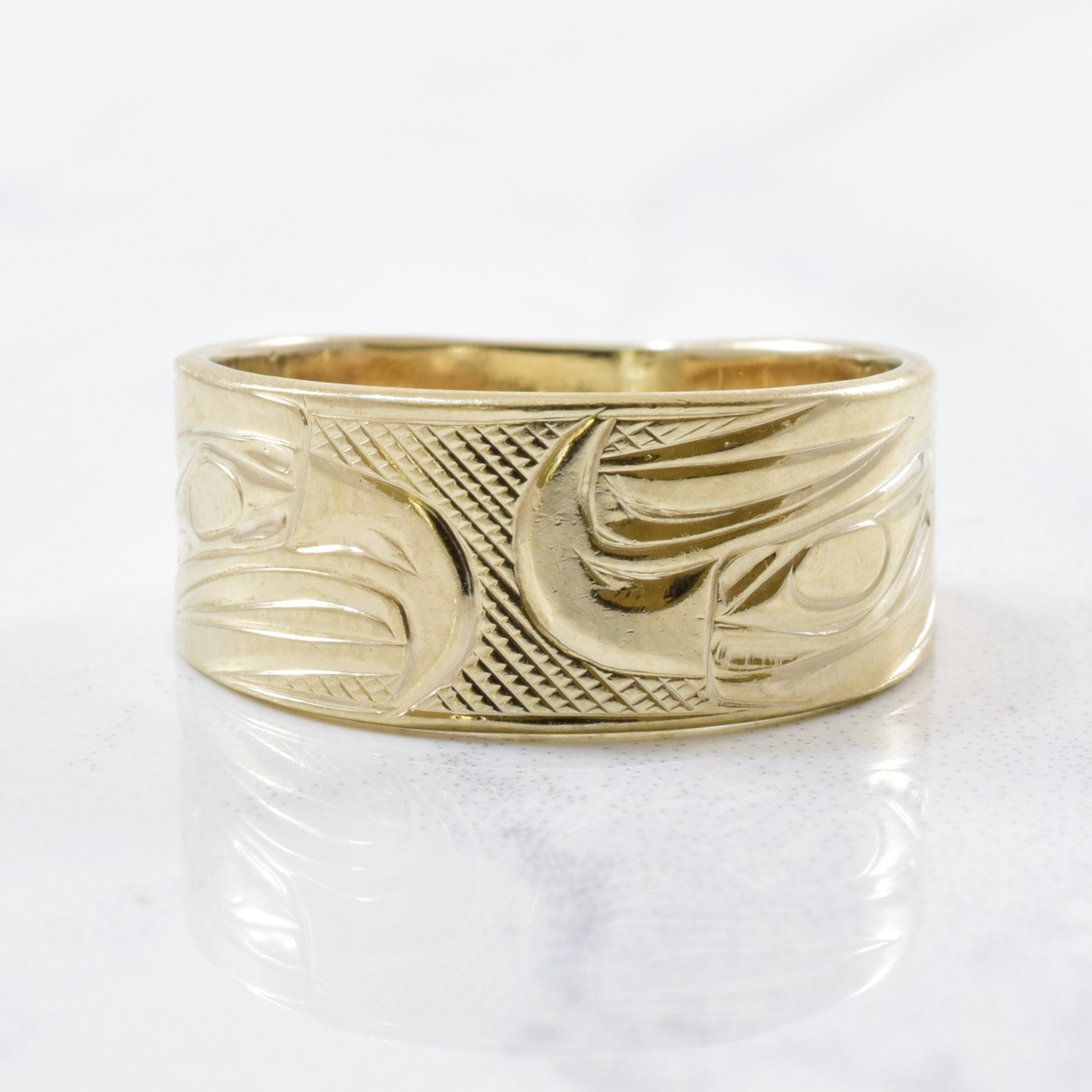 Indigenous Double Eagle Art Gold Band | SZ 6 |