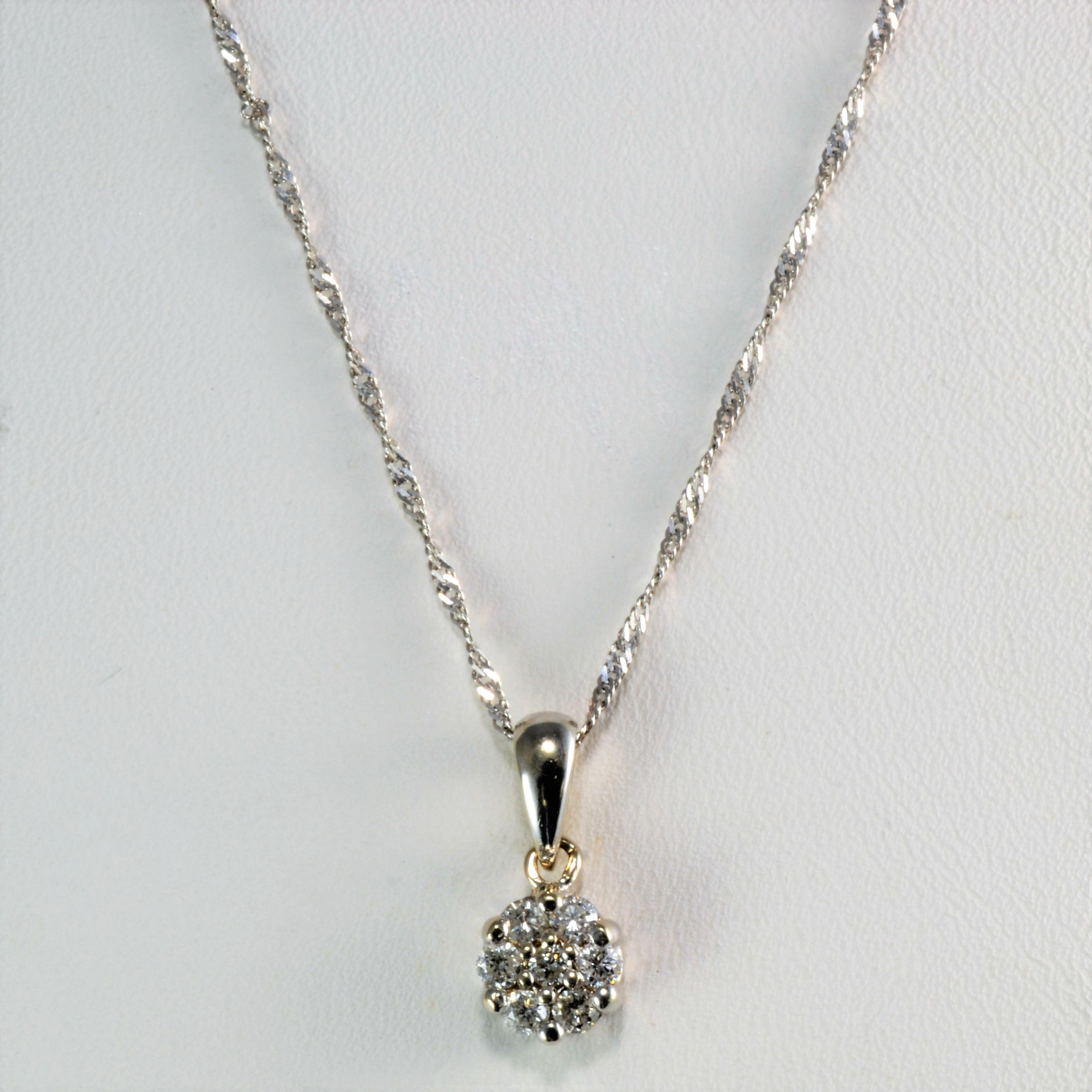 diamond white in pendant gold cluster cross