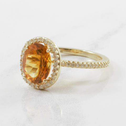 'Effy' Citrine & Diamond Halo Ring | 0.30ctw, 2.25ct | SZ 7.25 |