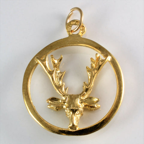 9k Gold Double Faced Deer Pendant