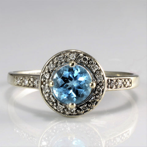 Halo Style Blue Topaz & Diamond Ring | 0.10 ctw, SZ 10.25 |