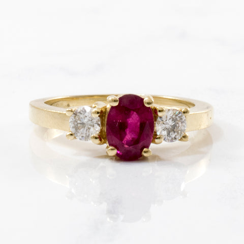 Oval Ruby & Diamond Three Stone Ring | 1.15ct, 0.36ctw | SZ 7 |