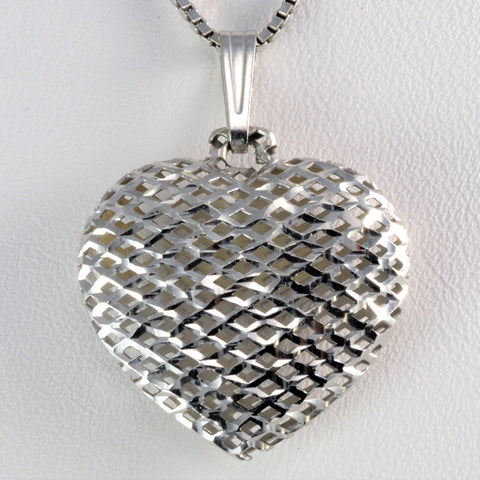 Woven Puffed Heart Pendant Necklace | 17''|