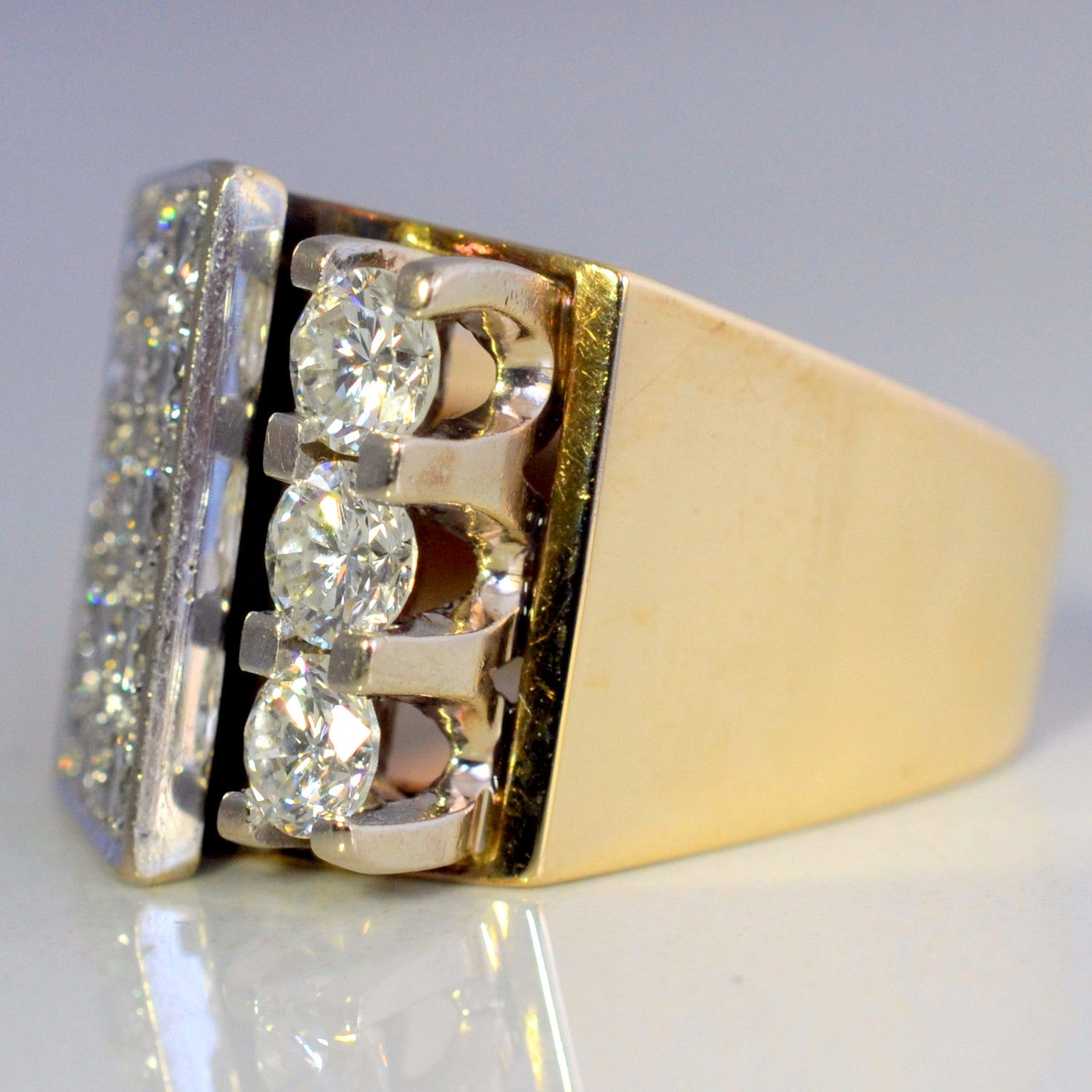 Custom Made Wide Band Pave Diamond Cocktail Ring | 1.50 ctw, SZ 5 |