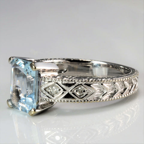 Milgrain Detailed Aquamarine & Diamond Designer Ring | 0.05 ctw, SZ 6.75 |