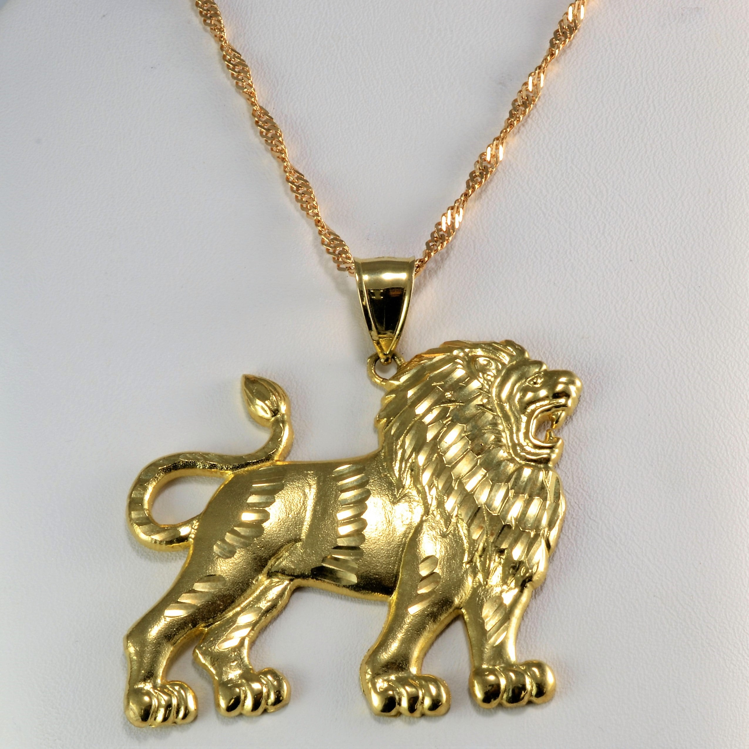 necklace gold conscious trap products lion apparel pendant head