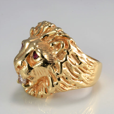 Lion Face Diamond & Ruby Heavy Men's Ring | 0.46 ctw, SZ 11.5 |