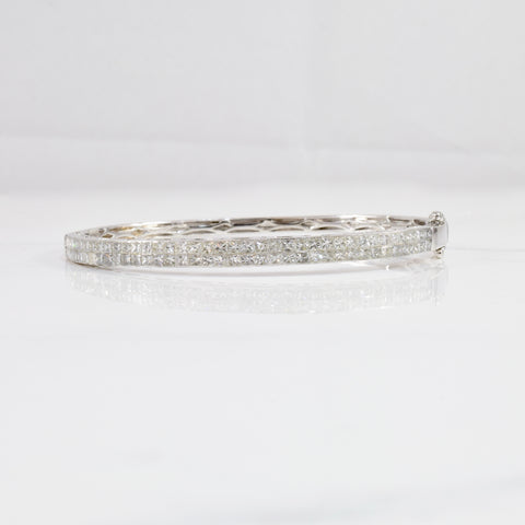 Pave Princess Cut Diamond Bangle | 2.44 ctw SZ 7.5"