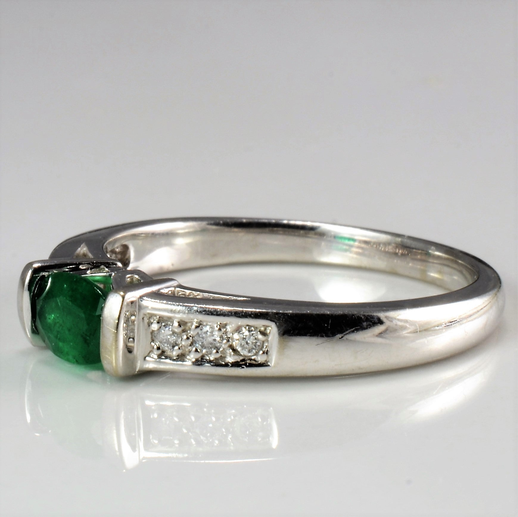 Solitaire Emerald & Diamond Accents Ladies Ring | 0.06 ctw, SZ 6.75 |