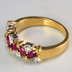 Cluster Diamond & Ruby Ring | 0.28 ctw, SZ 6 |
