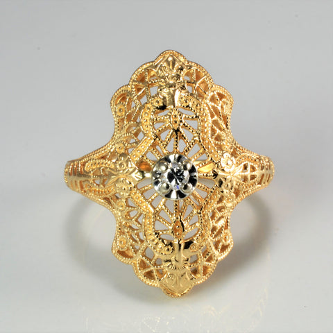 Filigree Solitaire Diamond Ladies Ring | 0.05 ct, SZ 5.75 |