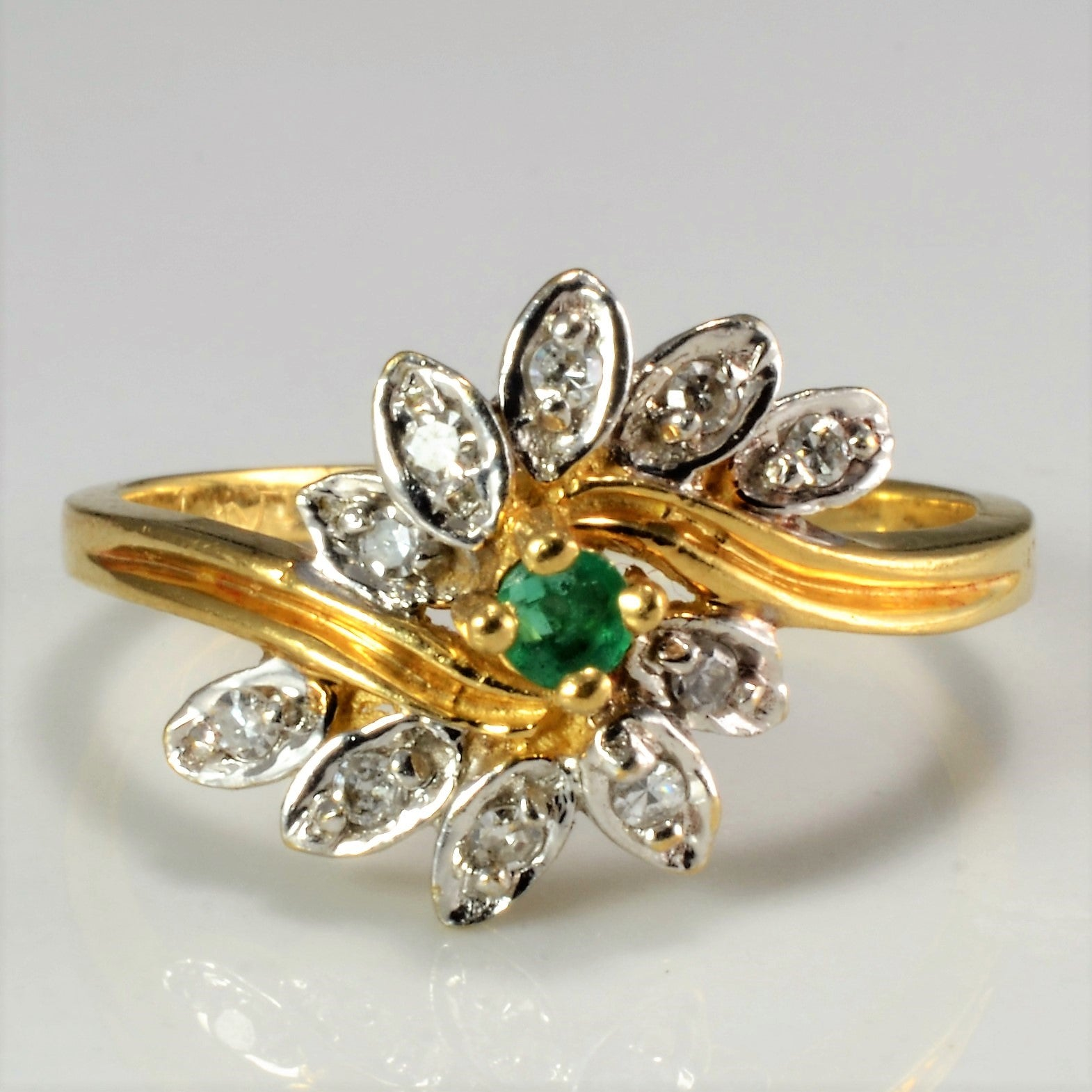 Bypass Emerald & Diamond Floral Ring | 0 09 ctw, SZ 6 |
